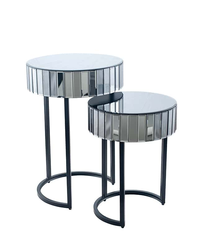 smoked grey mirrored side tables set of 2 style house. Black Bedroom Furniture Sets. Home Design Ideas
